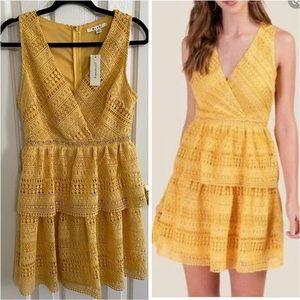 Miami Mustard Lace Tiered Fall Photoshoot Dress